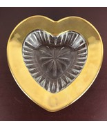 Heart Shaped Glass Around Thick Gold Metal Bowl Decor - $14.03