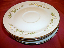 Mikasa ANDREA  4  saucers     White flowers Silver trim - $15.00