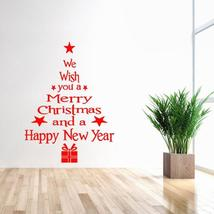 Decoration For Home White Red Christmas Wall Sticker Removable Waterproo... - $2.14+
