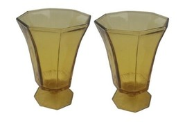 Amber tall 8 Panel Heavy Glass Vintage Drinking Glasses Set of 2 MCM 6 1... - $17.32