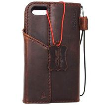 Genuine Natural leather Case for iPhone 7 wallet cover holder magnetic Brown - $47.99