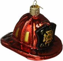 Old World Christmas Fireman's Helmet Blown Glass Christmas Ornament 32225 - $12.88