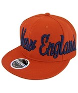 New England Men's Offset Cursive Script Snapback Baseball Cap (Red) - $11.95