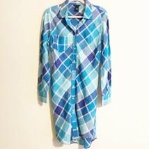 Moda International Womens Size 10 Shirt Dress Plaid Blue 100% Linen Work - $19.16