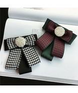 Red Black Flower Crystal Fashion Ladies Men Pre Tied Bow Brooch Pin - $6.99