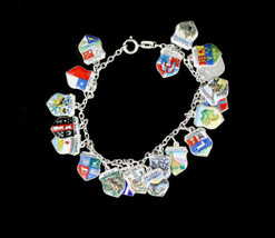 "Vintage AntikoTravel Shield 800 Silver 20 Enamel Charms Bracelet Germany 7"" - $107.99"