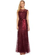 Adrianna Papell Long Sequin and Embroidered Gown, Cabernet, 12 - $148.49