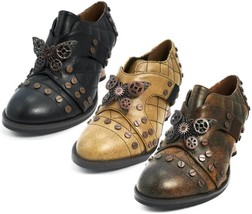 Hades ICON Black/Brown/Mustard Steampunk Shoes Metal Butterfly Copper Heels - $90.00