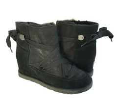 UGG CLASSIC FEMME LACE UP BOMBER BLACK WEDGE ANKLE BOOT US 6.5 / EU 37.5... - $111.27