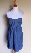 Charlotte Russe Large Denim Strapless Pocketed Sweetheart Sun Dress - $13.37