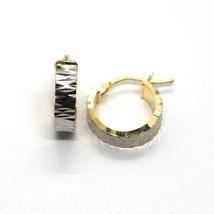 Pendientes Oro Amarillo & Blanco 750 18K, Círculo, Martillado, Diámetro 1.3CM image 2