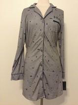 DKNY Printed Shirt Collar Sleepshirt Y2319353 Grey Heather Large - $37.95