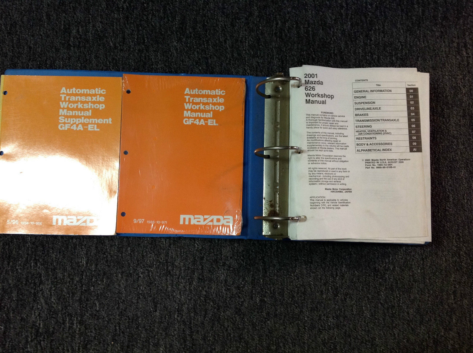 Primary image for 2001 Mazda 626 Service Repair Shop Manual Set W Transaxle Books FACTORY OEM