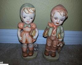"Vintage Figurine School Boy Umbrella Girl Puppy Books Backpack 7.5"" Pete... - $34.64"