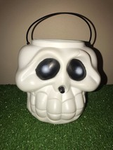 "Vintage Halloween 6"" White Skull Trick-Or Treat Candy Pail With Handle - $9.89"