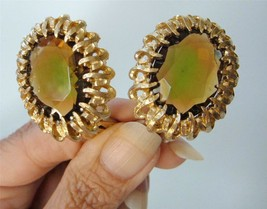 Vintage Emmons Multi Color Glass Gemstone Earrings Large Gold Tone Brutalist - $24.74