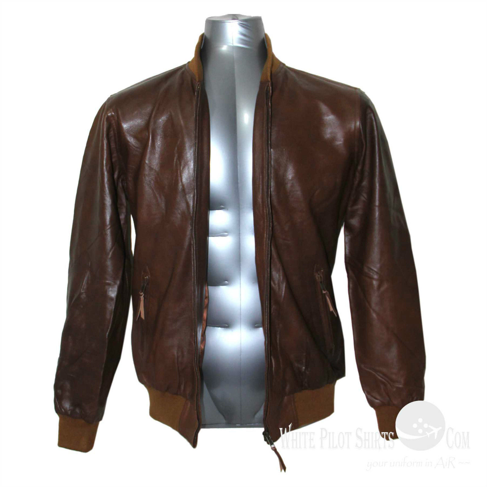 Polo Mens leather jacket Soft wax Ribbed collar cuff waist Bomber Gents Monaco