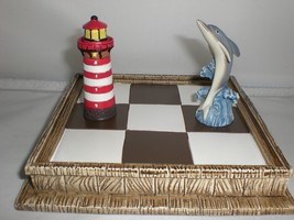 Dolphin Lighthouse Pieces Tic-Tac-Toe Nautical Tactile Fun Board Game Tr... - $10.39