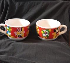 2 Disney Oversize Ceramic Mugs Mickey Minnie Donald Daisy Pluto Goofy St... - $16.82