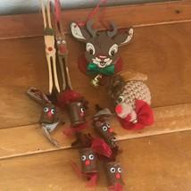 Lot of Handmade Wood Clothespin Spool Crocheted Reindeer Christmas Tree ... - $11.29