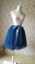 Navy Midi Tulle Skirt Women Girl Tulle Tutu Skirts with Bow Plus Size image 4