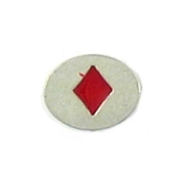 RED DIAMONDS EPOXY FINE PEWTER OVAL DISC BEAD - 11mm L x 9mm W x 3mm D