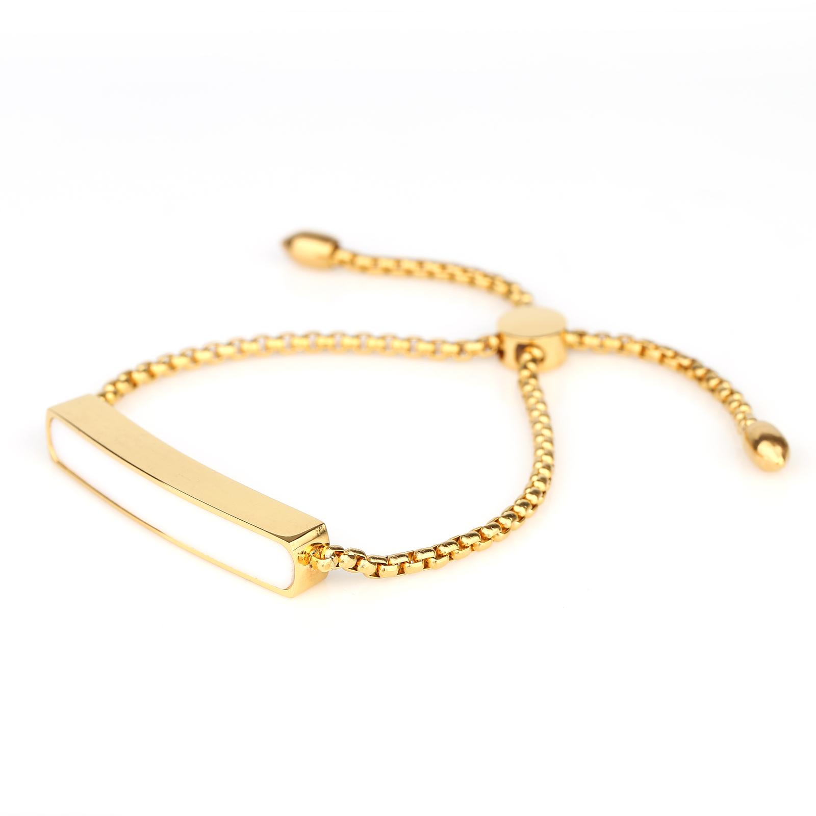 UNITED ELEGANCE Stylish Gold Tone Designer Bolo Bar Bracelet With White Inlay