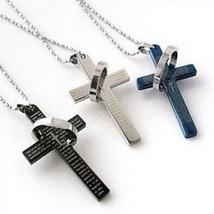 2017 Lord's Prayer Cross Pendant With Chain Vintage Titanium Steel Bible... - $5.52