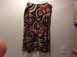 D.F.A New York Stretchy Skirt w LG Circle Print Design Sz XL