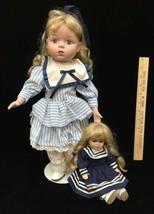 "Porcelain Dolls Girl Blonde Hair Blue Eyes 16"" w/ Stand & 6"" Sitting Lot... - $18.80"