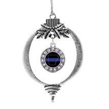 Inspired Silver Arkansas Thin Blue Line Circle Holiday Ornament - $14.69