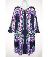 NWT Chico's 3 XL Arbor Print Bridget Dress Stretch Knit Black Tunic Casual - $29.69
