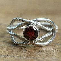 Wire Pattern Garnet Solitaire Ring Solid 925 Sterling Silver Jewelry mi4544 - $13.91