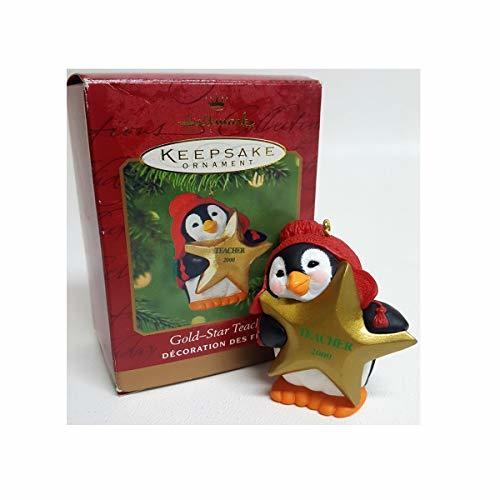 Hallmark Keepsake Christmas Ornament ; Gold Star Teacher Penguin 2000 QX6951 - $13.49