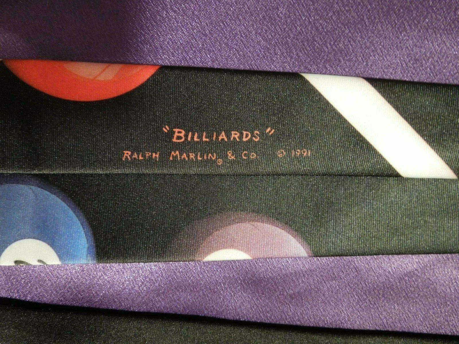 Vintage 1991 Ralph Marlin Random Billiard Pool Balls Neck Tie image 7