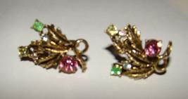 Vtg 1960s Leaves Pastel Rhinestones KARU Screw Back Gold tone Clip On Ea... - $9.00