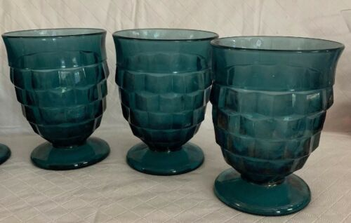 "Vintage INDIANA GLASS ""Whitehall"" American Cubed Juice Blue Tumblers set of 5"