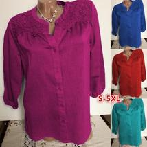 Lace Embroidery Button Up Blouse - $15.40