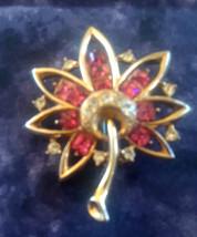 Vintage High End Pink & Clear Rhinestone Flower Gold Tone Brooch - $20.00