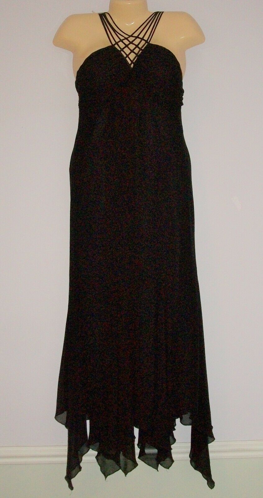 Primary image for SEXY BLACK LONG Tiered Evening Gown-SL FASHION SZ 10