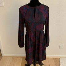 LOFT Women's Dress Size 6 Purple Pink Long Sleeve Keyhole Neck - $19.79