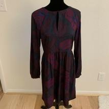 LOFT Women's Dress Size 6 Purple Pink Long Sleeve Keyhole Neck - $19.79