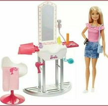 Barbie Salon Playset with Doll and Accessories Set FJB36 - $43.56