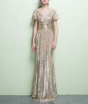 GOLD Maxi Sequin Dress Cap Sleeve High Waist Retro Style Maxi Long Sequin Dress image 1