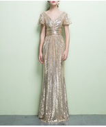 GOLD Maxi Sequin Dress Cap Sleeve High Waist Retro Style Maxi Long Sequin Dress - $139.90
