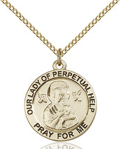 14K Gold Filled O/L of Perpetual Help Pendant 3/4 x 3/4 inch with 18 inch Chain - $130.24
