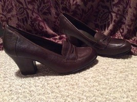 Women's 9 BORN Brn Real Leather Shoes HI HEEL LOAFERS BARELY WORN -NICE!... - $27.98