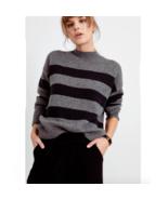 Rails Womens Ellise Charcoal Mock Neck Striped Sweater New M - $118.58