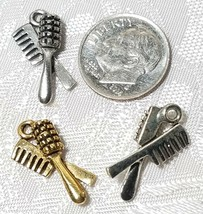 HAIR BRUSH AND COMB FINE PEWTER PENDANT CHARM image 2