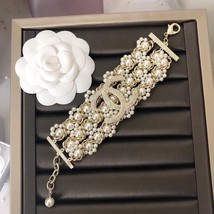 NEW Authentic CHANEL 2019 Multi Strand Crystal CC Gold Chain Pearl Bracelet